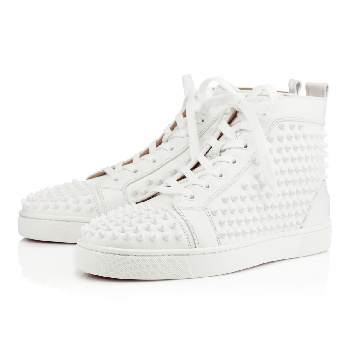 Louis Spikes Men s Flat White White Leather - Men Shoes - Christian  Louboutin ab25f07012ab