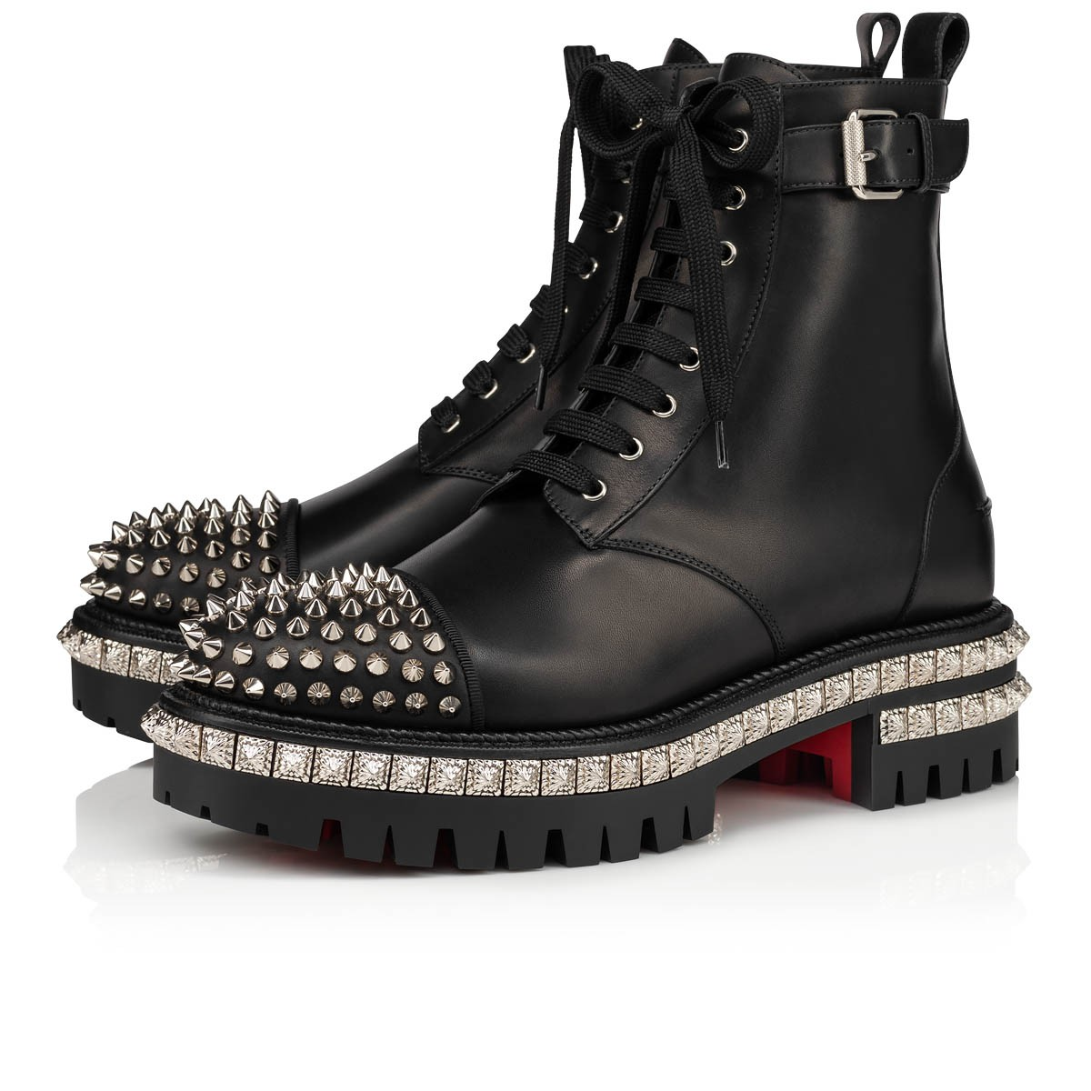 the best attitude fa3c1 9834a KING ST Black/Silver Leather - Women Shoes - Christian Louboutin