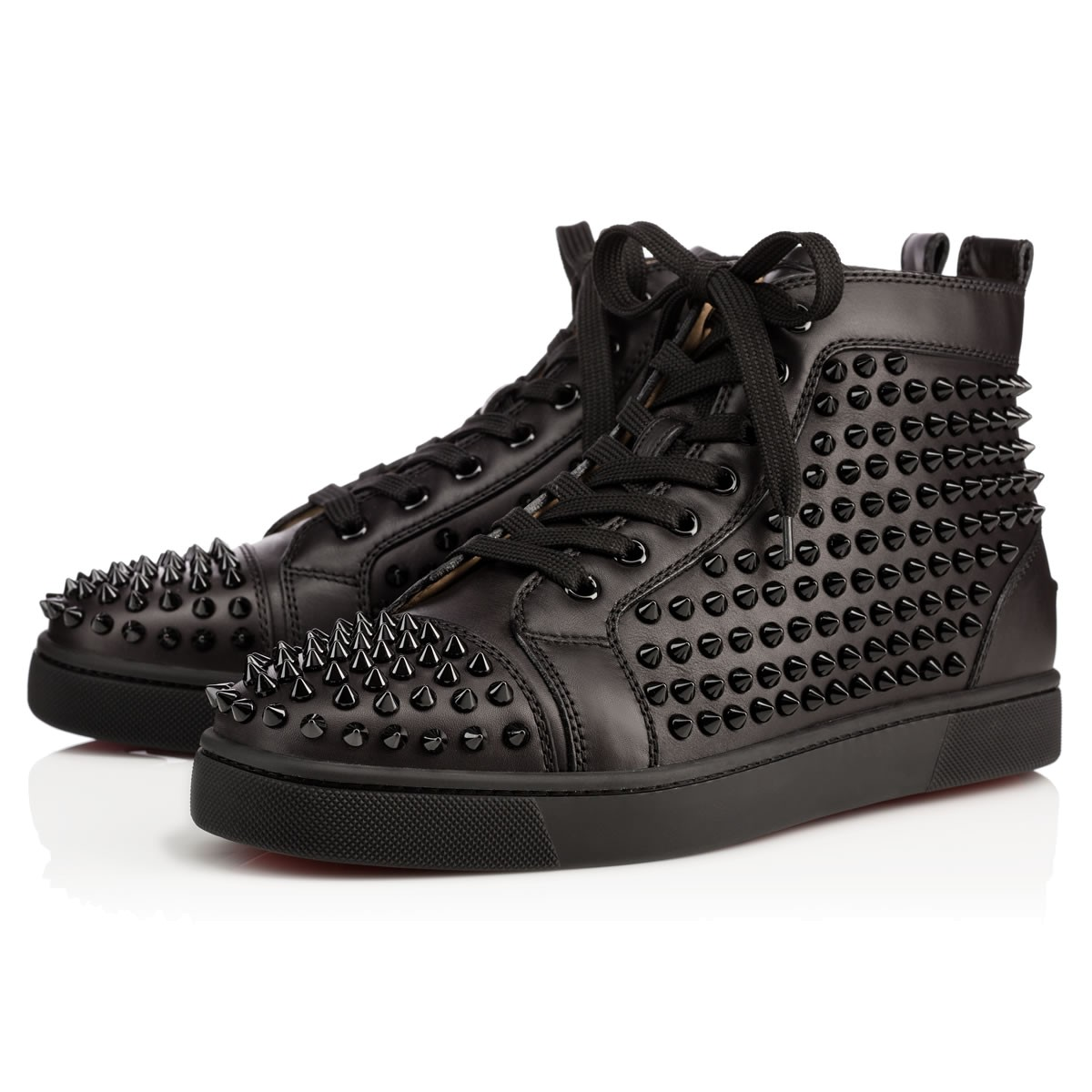 Louis Spikes Men s Flat Black Black Bk Leather - Men Shoes ...