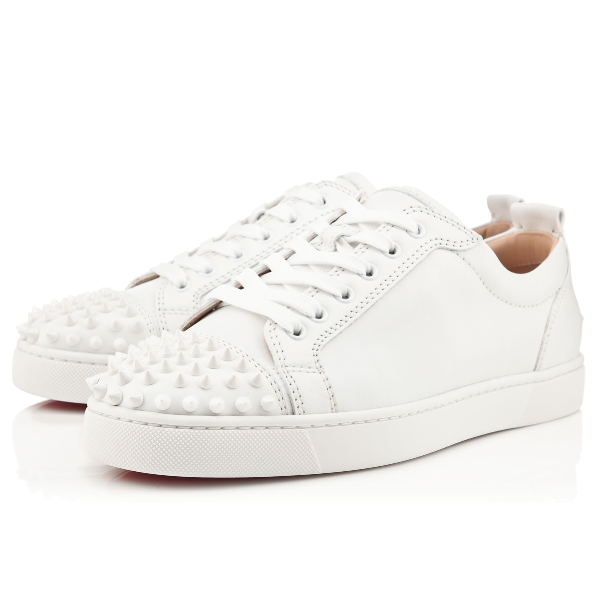 outlet store 45e1f a5a84 Louis Junior Spikes White/White Leather - Men Shoes - Christian Louboutin