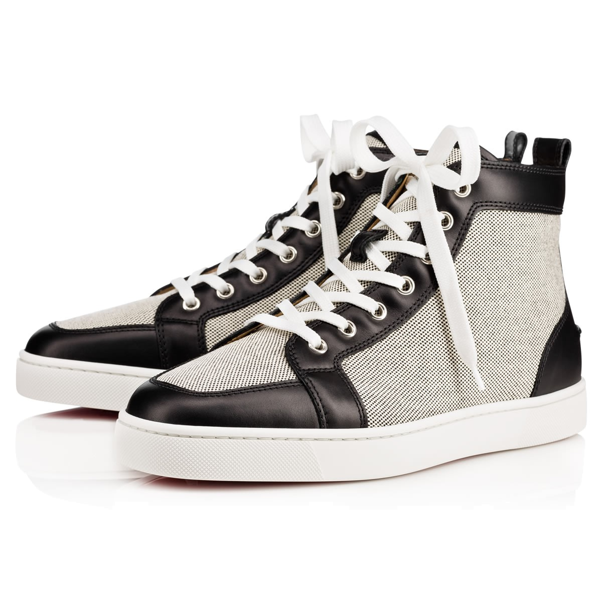 Mens Rantus Flat Leather & Cotton Sneakers Christian Louboutin
