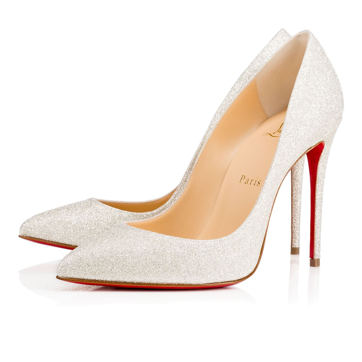 huge inventory 8cc62 e922b Pigalle Follies 100 Ivory Glitter Mini - Women Shoes - Christian Louboutin