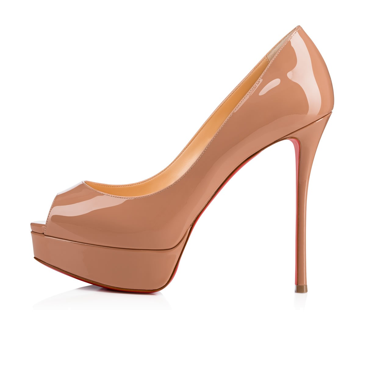 1791fddce19 Fetish Peep 130 Nude Patent Leather - Women Shoes - Christian Louboutin