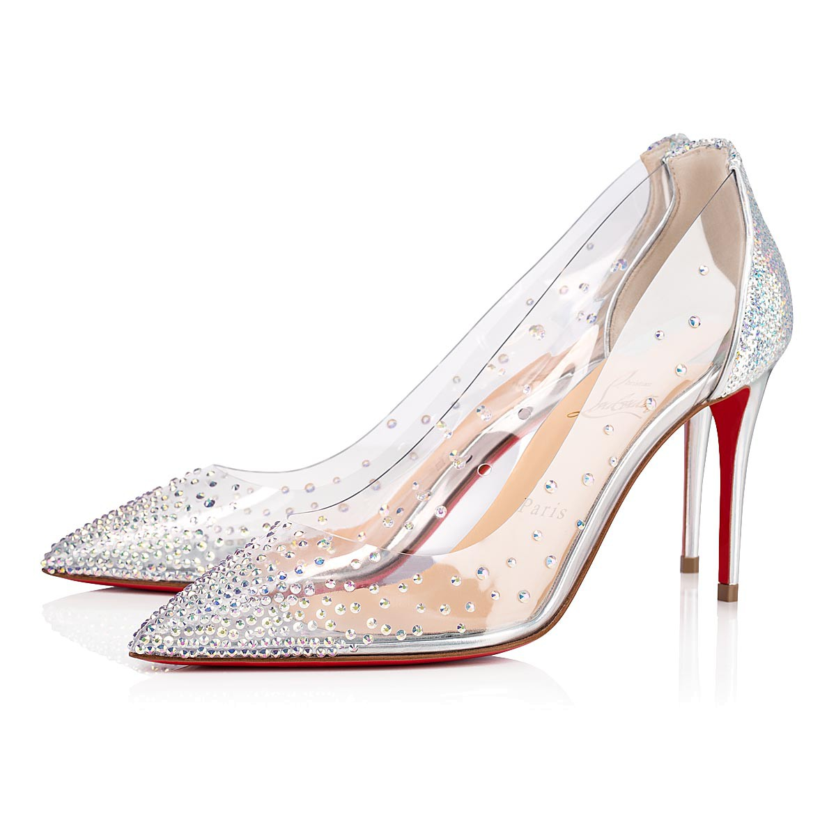 brand new cd775 80037 Degrastrass 85 Silver Paillete - Women Shoes - Christian Louboutin