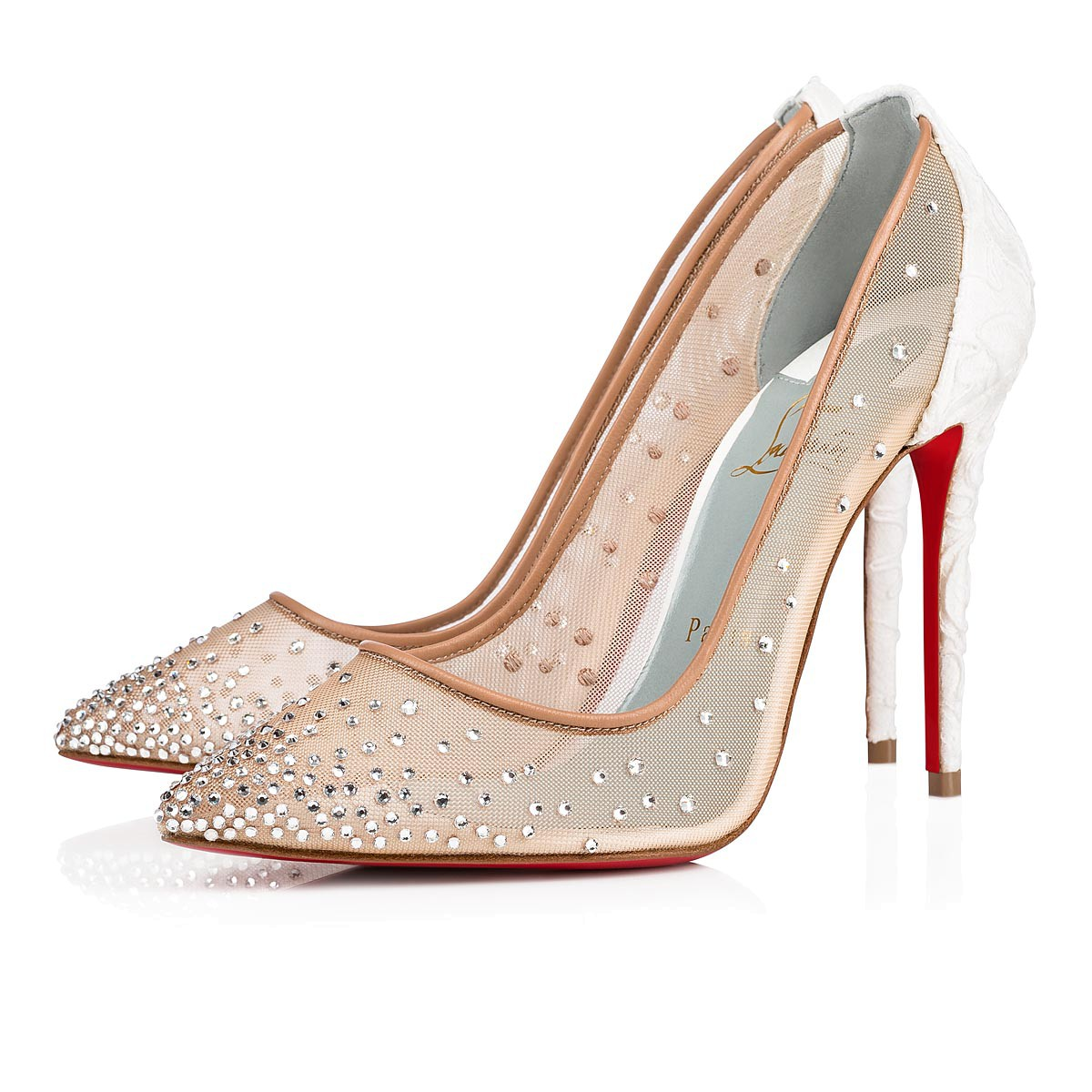 new concept 389e4 c4313 Follies Strass 100 Off White Dentelle Lace - Women Shoes - Christian  Louboutin