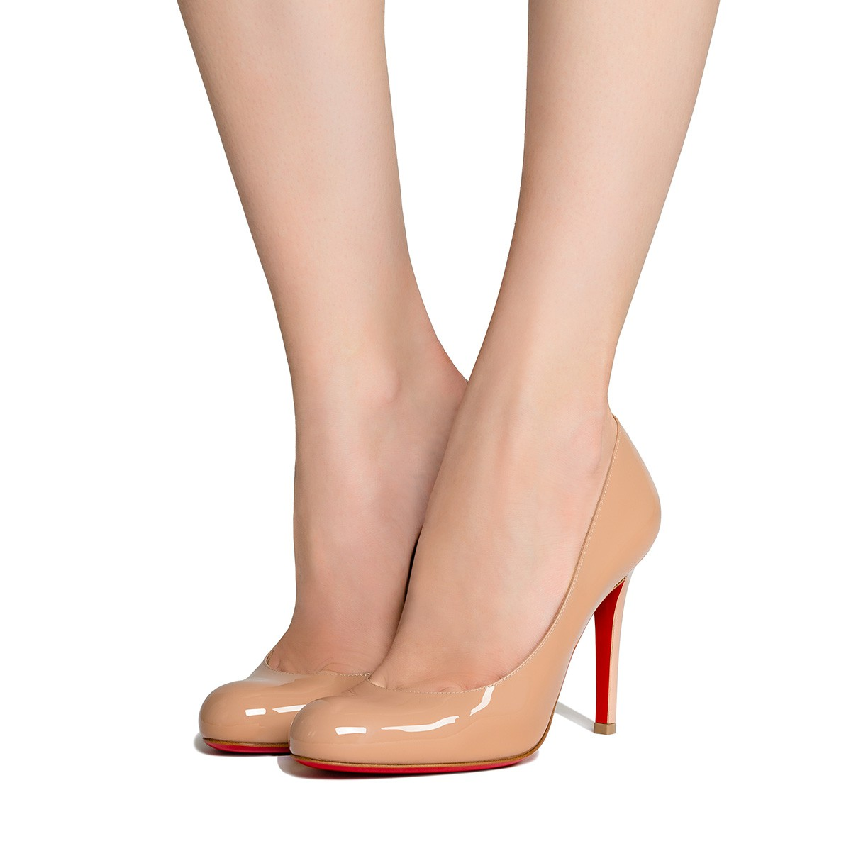 LOUBOUTIN 'NEW SIMPLE PUMPS' IN NUDE PATENT LEATHER, SIZE 37,5