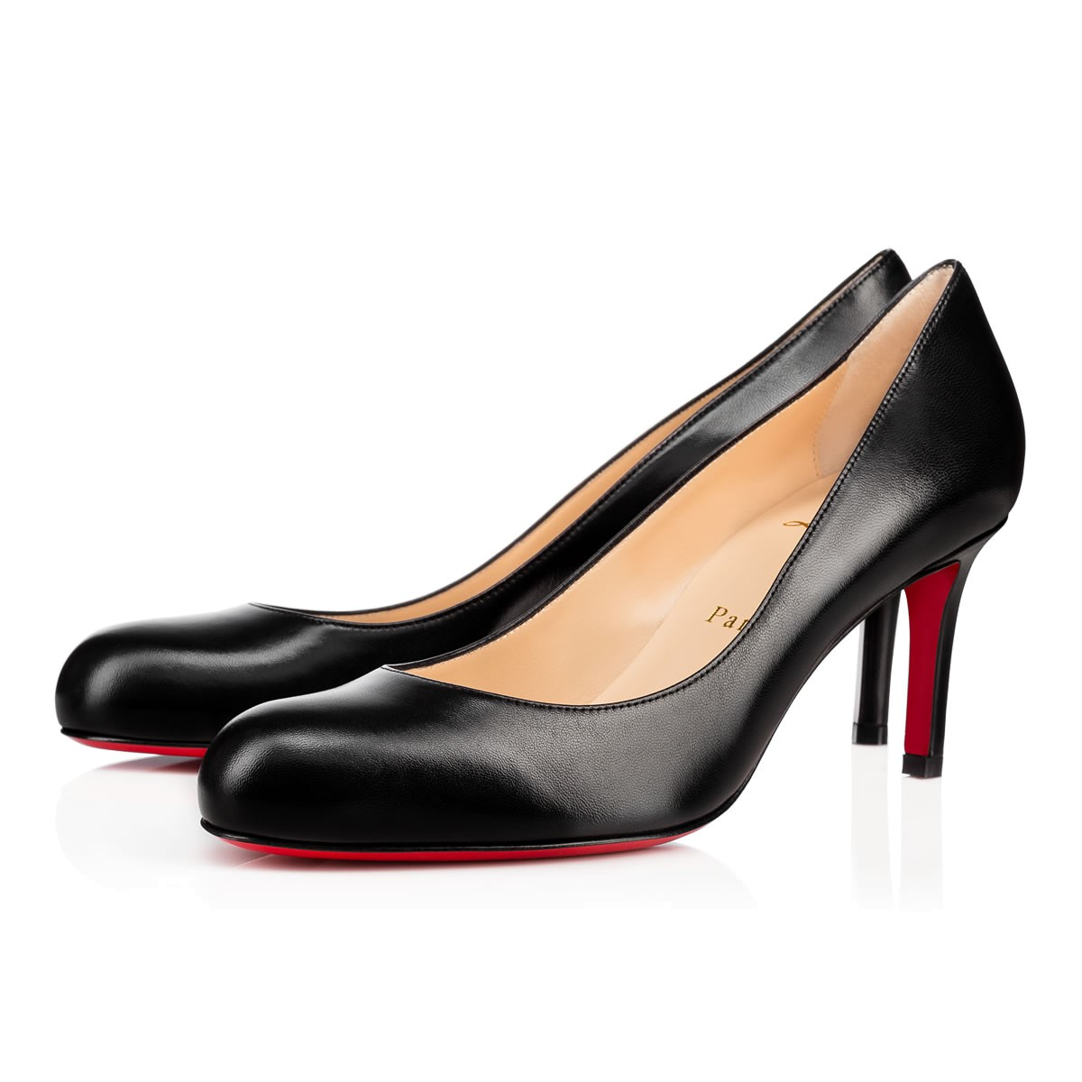 christian louboutin simple 70 leather pumps black