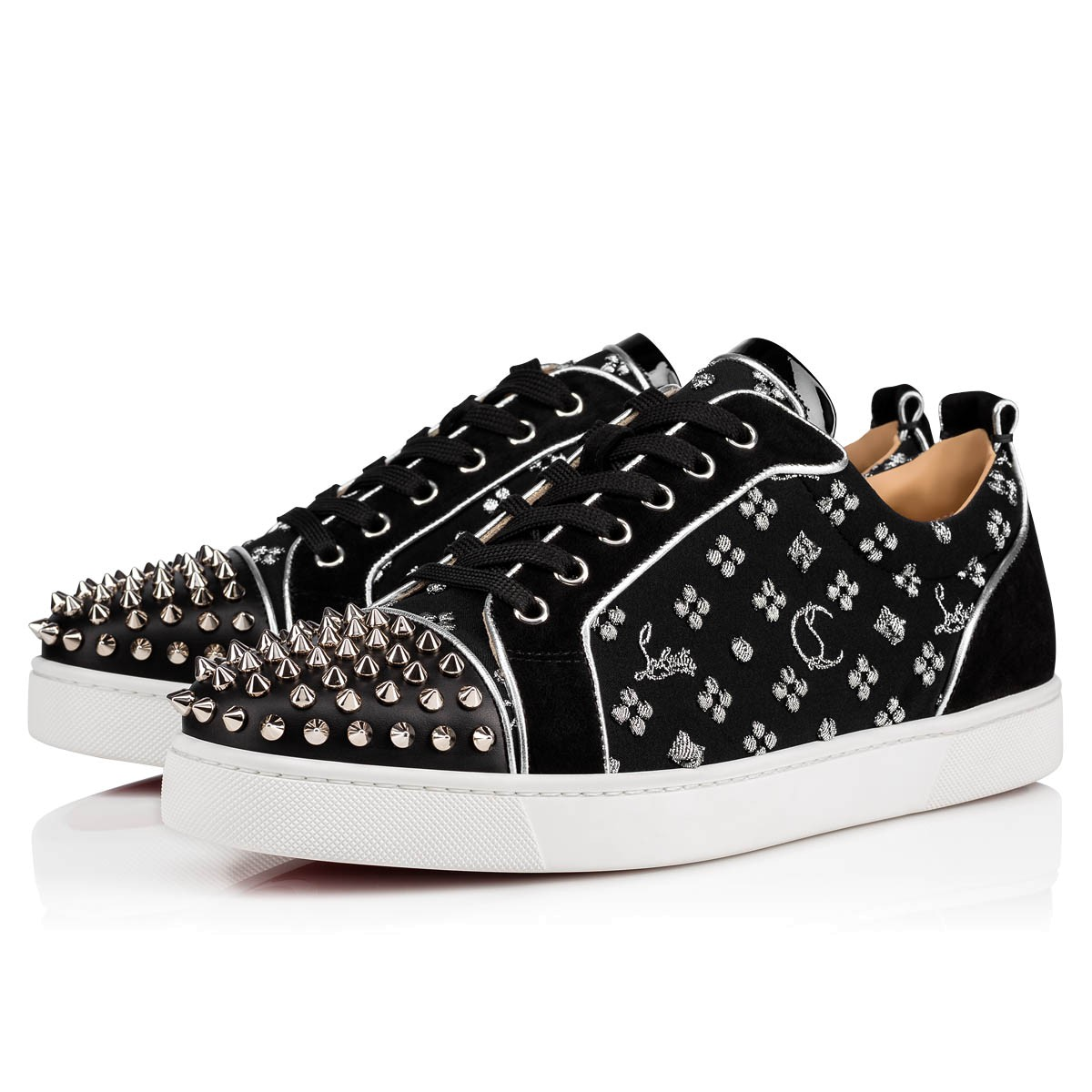 8d7f093f44c Louis Junior Spikes Orlato Men's Flat Black/Silver Jacquard Loubi in the  Sky - Men Shoes - Christian Louboutin