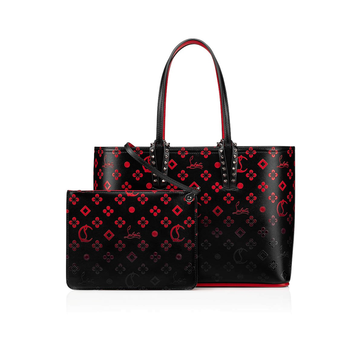 check out low priced utterly stylish CABATA SMALL TOTE BAG Black-Red/Black Calf Loubinthesky - Handbags ...